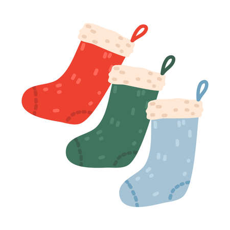 Traditional Christmas colorful socks hanging for presents vector illustration