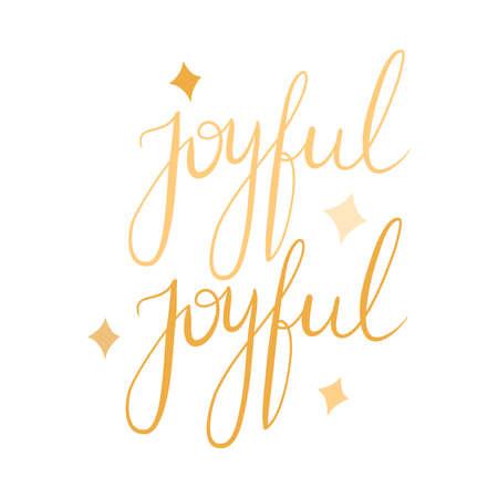 Christmas joyful golden sparkling lettering vector illustration