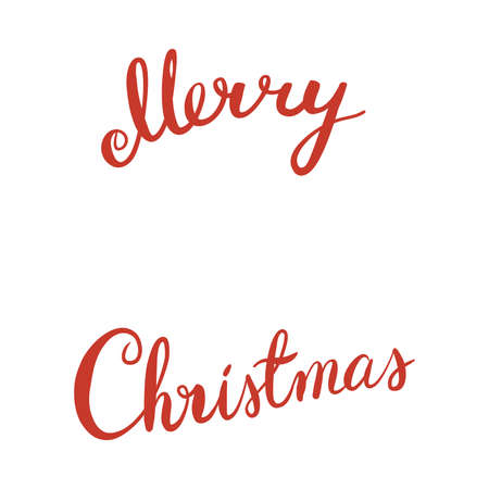 Holiday red Merry Christmas comgratulation lettering vector illustration