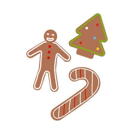 Traditional Christmas gingerbreads in shape of man, magic wand and Christmas tree Ilustração