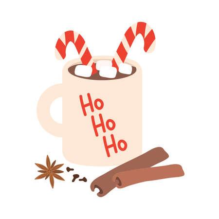Traditional Christmas hot chocolate with cinnamon in mug Ilustração