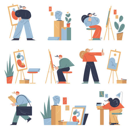 Set of people painting, drawing and making artworks in art studio