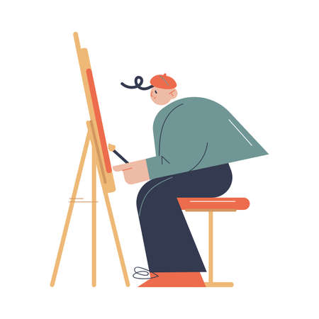 Man artist sitting and drawing on easel with brush in art studio Ilustração