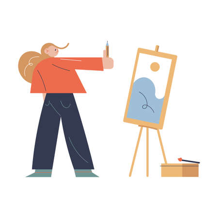 Woman standing opposite easel and drawing scenery picture with pansil in art studio Ilustração