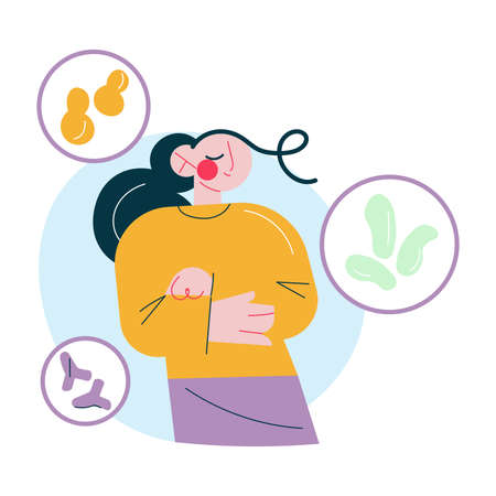 Positive woman feeling good aftergood bacterias working in stomach