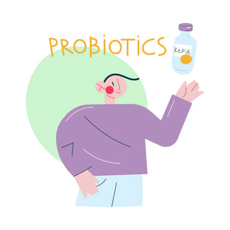 Healthy smiling man drinking kefir probiotics for healthy microflora in stomach