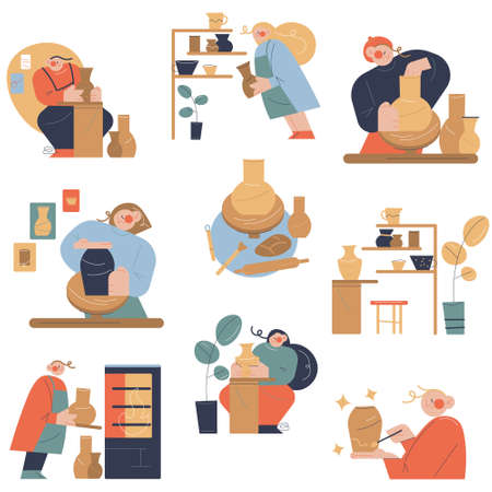 Set of people making jugs and dishes from clay in pottery studio Ilustração
