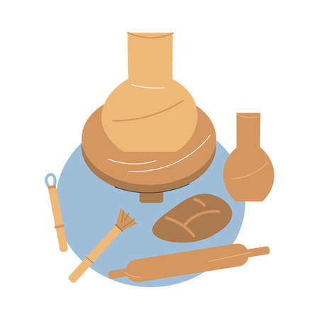 Tools and equipment for making ceramics from clay in pottery studio