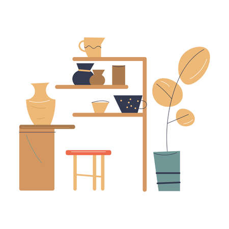 Interior of modern pottery studio with tools and equipment for making ceramics from clay Ilustração