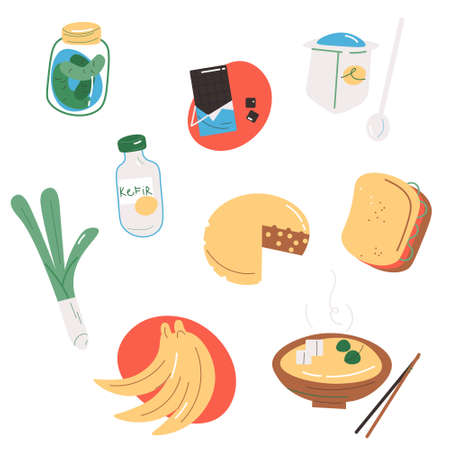 Set of products containing probiotics for good microflora in stomach Ilustração