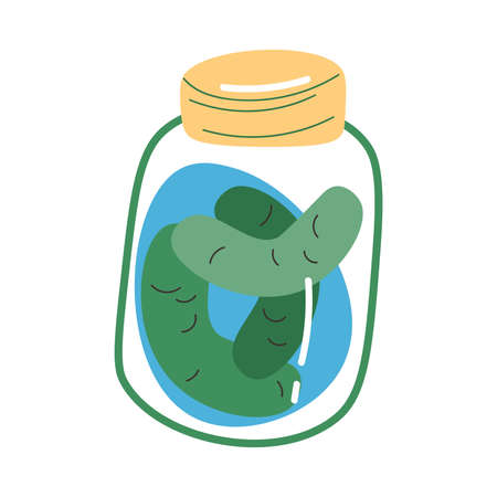 Products in jar containing probiotics for good microflora in stomach