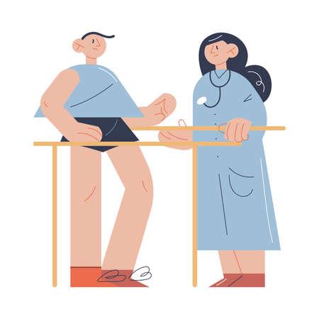 Woman therapist helping man patient with exercising during program of health rehabilitation Ilustração