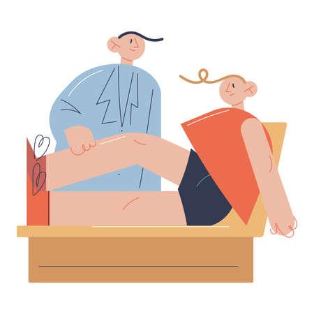 Young man doctor stretching man patients leg after surgery Ilustração