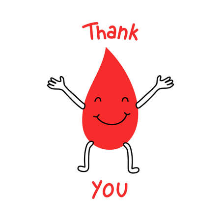 Happy blood drop for donation and lettering thank you
