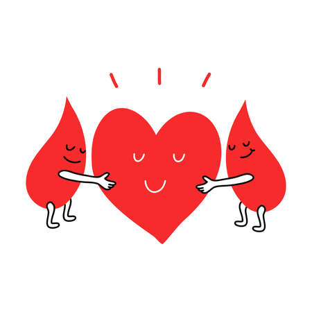 Happy blood drops hugging heart for donation as symbol of life
