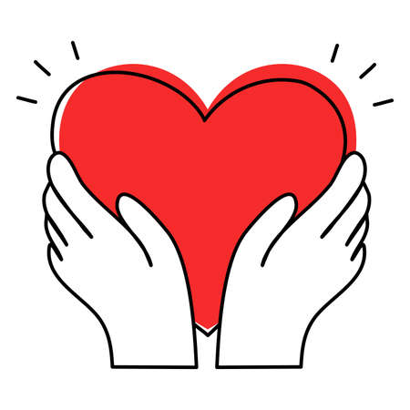 Red heart in human hands as symbol of blood donation