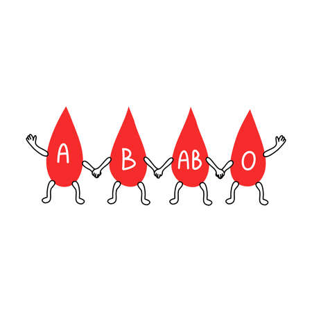 Drops of different blood groups holding each other by hands