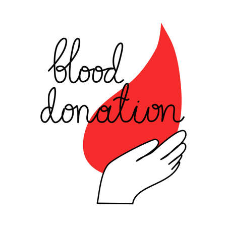 Blood drop in human hand and lettering blood donation Ilustração