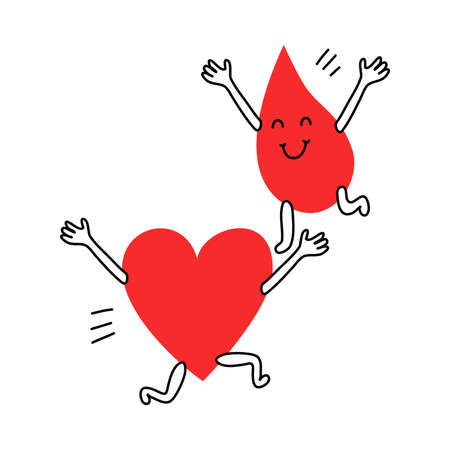 Happy blood drop and heart running towards each other Ilustração