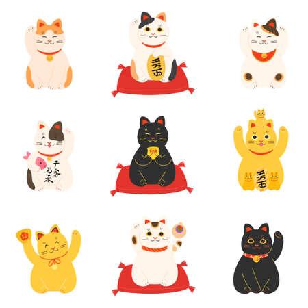Set of maneki neko japanese cats for attracting luck and money