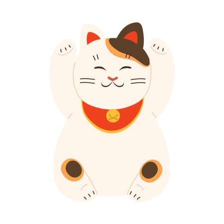White japanese traditional maneki neko cat statue with raised paws