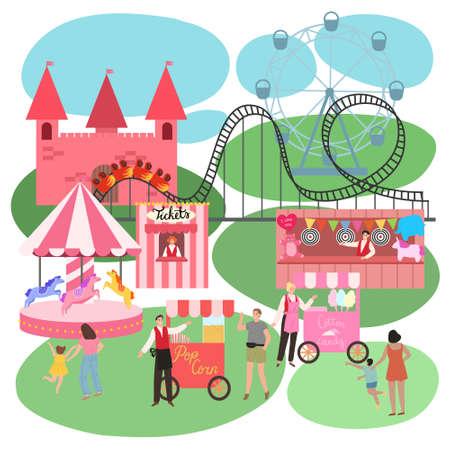 People enjoying different activities and entertainment in amusement park Ilustração
