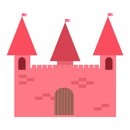 Red castle for family entertainment in amusement park