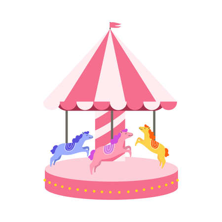 Children s carousel with horses for family entertainment and fun