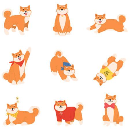 Set of funny red cheerful japanese akita dogs enjoying life