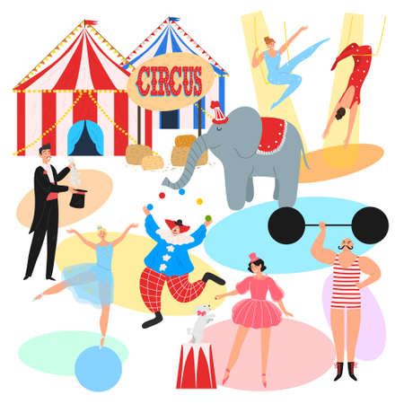 Set of people performers making show entertainment program in circus 向量圖像