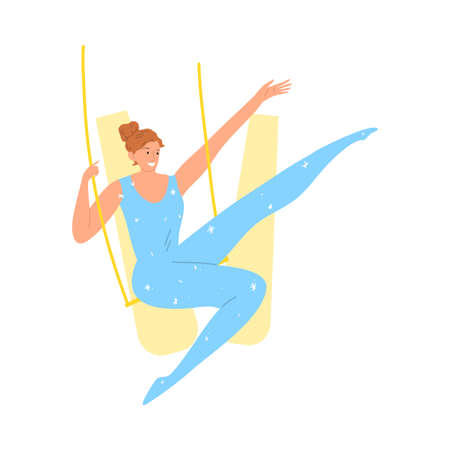 Smiling girl aerialist in blue costume during performance in circus 向量圖像