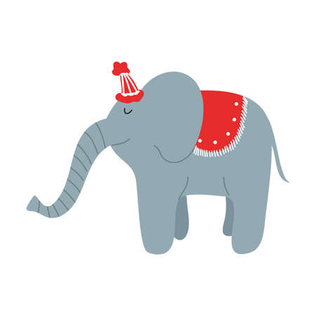 Grey clever elephant artist in red cap making show in circus