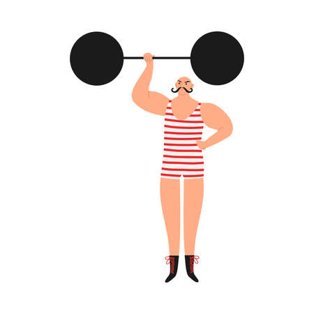 Smiling man athlete in striped costume making performance with barbell in circus Vectores