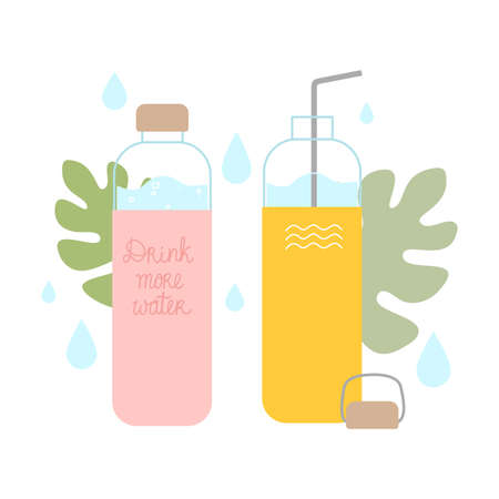 Bottles with clean drinking water or juice and lettering to drink more water