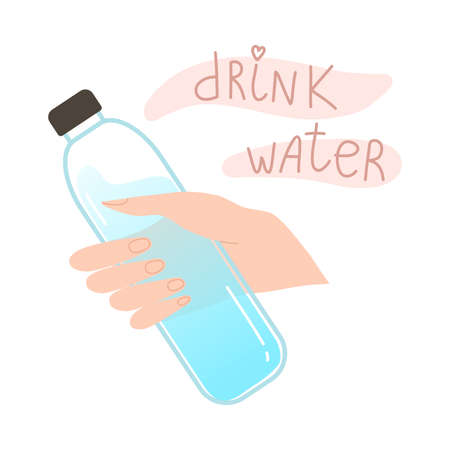 Human hand holding bottle with still water and lettering drink water 向量圖像