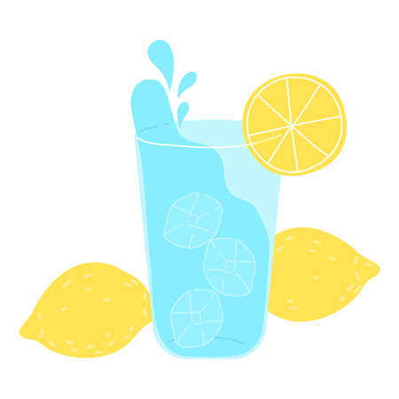 Glass of clean pure drinking water with lemon for healthy lifestyle