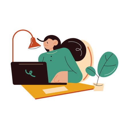 Smiling woman writer author sitting, working on laptop writing book or stories text Stock Illustratie