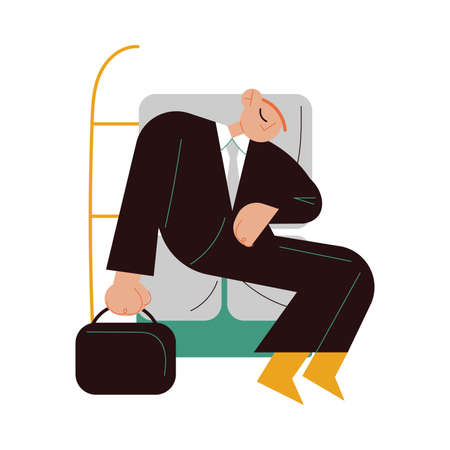 Sleepy businessman sitting in public transport and napping Векторная Иллюстрация