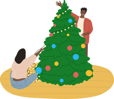 Happy black young couple decorating Christmas tree with toys and garland Çizim
