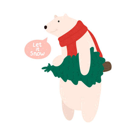 Happy white polar bear in Christmas comfortable cozy red scarf carrying christmas tree Stock Illustratie