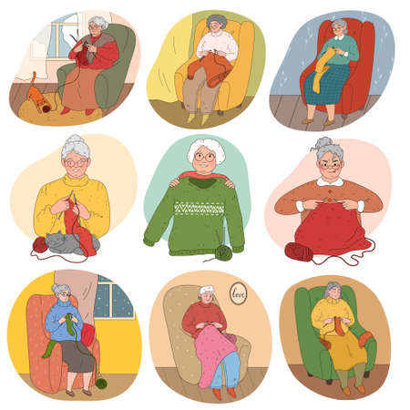 Set of senior women grandmothers sitting at home and knitting warm clothing