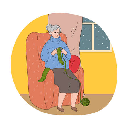 Woman grandmother sitting in armchair and knitting green warm socks Vettoriali