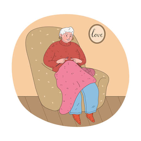 Woman grandmother sitting in armchair and knitting pink sweater at home Vettoriali
