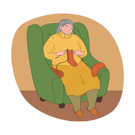 Woman grandmother knitting orange socks from wool Vettoriali
