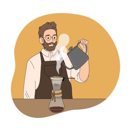 Man barista brewing black coffee alternative method in coffeeshop Vettoriali