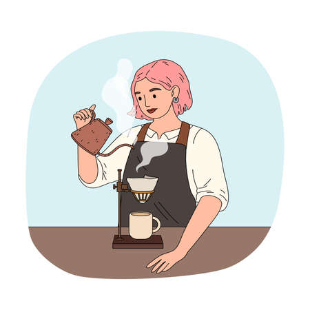 Girl barista pouring water to filter and brewing black coffee