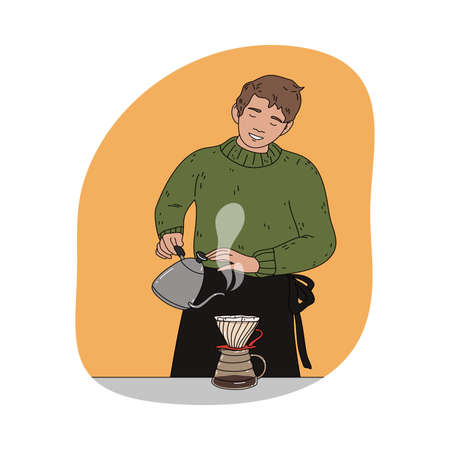 Positive man barista pouring water and brewing black coffee Vettoriali