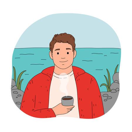 Smiling boy traveler enjoying fragrance of fresh brewed coffee during traveling Vettoriali