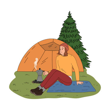Girl traveler sitting near camping and making coffee on fire