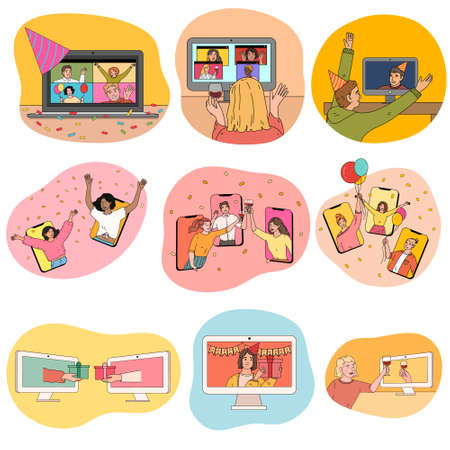 People celebrating holidays and birthdays online on laptops and smartphones Stock Illustratie